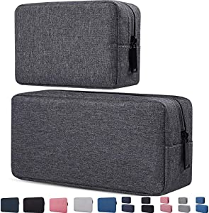 Electronics Accessories Case, Durable Small Electronics Accessories Storage Bag Compatible Laptop Charger Various USB, Cables, Cords and Power Travel Gadget Carry Bag, Dark Gray(Small+Big)
