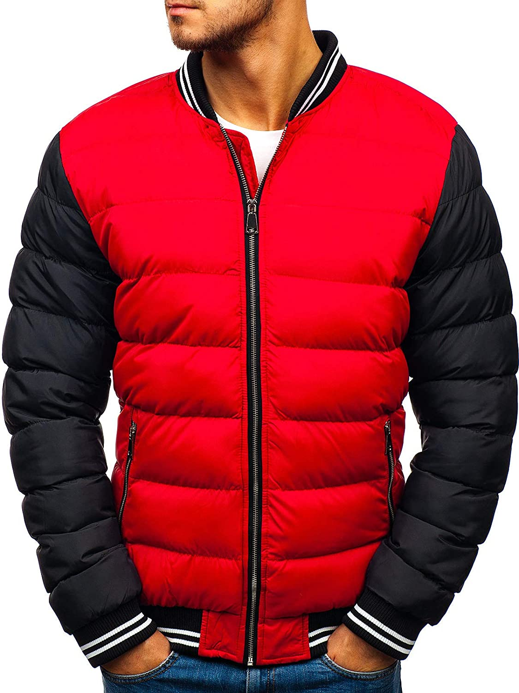 BOLF Homme Parka Blouson Veste d'hiver Capuche Sportif Fourrure Mix 1A1 Rouge_5366