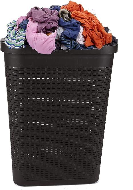Cream Large Woven Plastic Corner Laundry Washing Bin Multi Storage Rattan Basket