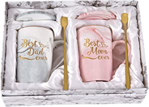 Best Dad and Mom Mug Mom and Dad Ever Marble Coffee Mug Gifts for Mom Dad from Daughter Son New Parent Gift Couple Gift Set for Christmas Birthday 14 Oz with Gift Box Coaster Spoon