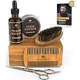 Naturenics Premium Beard Grooming Kit for Men - 100% Organic Unscented Beard Oil, Beard Balm Butter Wax, Beard Brush, Beard C