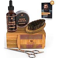Naturenics Premium Beard Grooming Kit for Mens Care - 100% Organic Unscented Beard Oil, Beard Brush, Dual Teeth Comb, Mustache & Beard Balm Butter Wax, Barber Scissors with Bamboo Gift Set & eBook