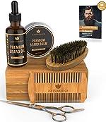 Naturenics Premium Beard Grooming Kit for Men - 100% Organic Unscented