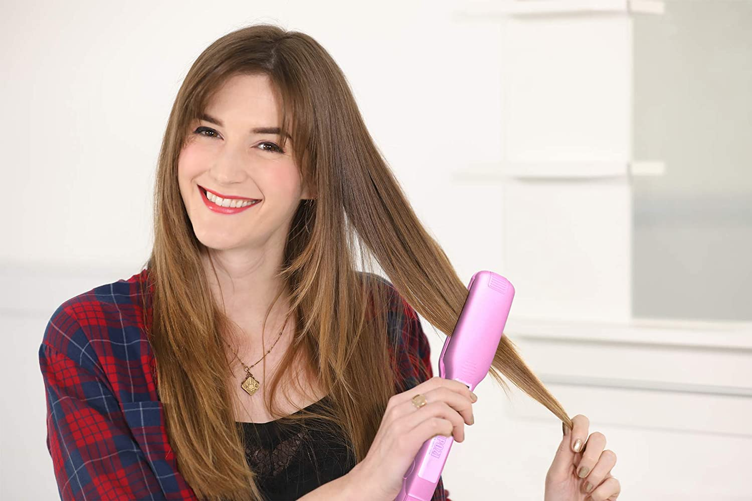 KIPOZI professional hair straightener flat iron with Digital Display,Heats Up fast.1.75 inch Wide Charming Pink