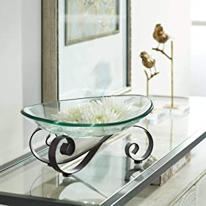 Kensington Hill Iron Scroll Stand with Oval Glass Bowl