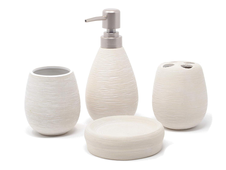 Set di bagno 4 pezzi bianco Fiveto. Porta Sapone Più Dispenser Per Sapone Bicchiere E Porta Spazzolino. Questo Set Di Accessori Per Il Bagno E Disponibile In 3 Colori e Realizzato in Ceramica FivetoDeals