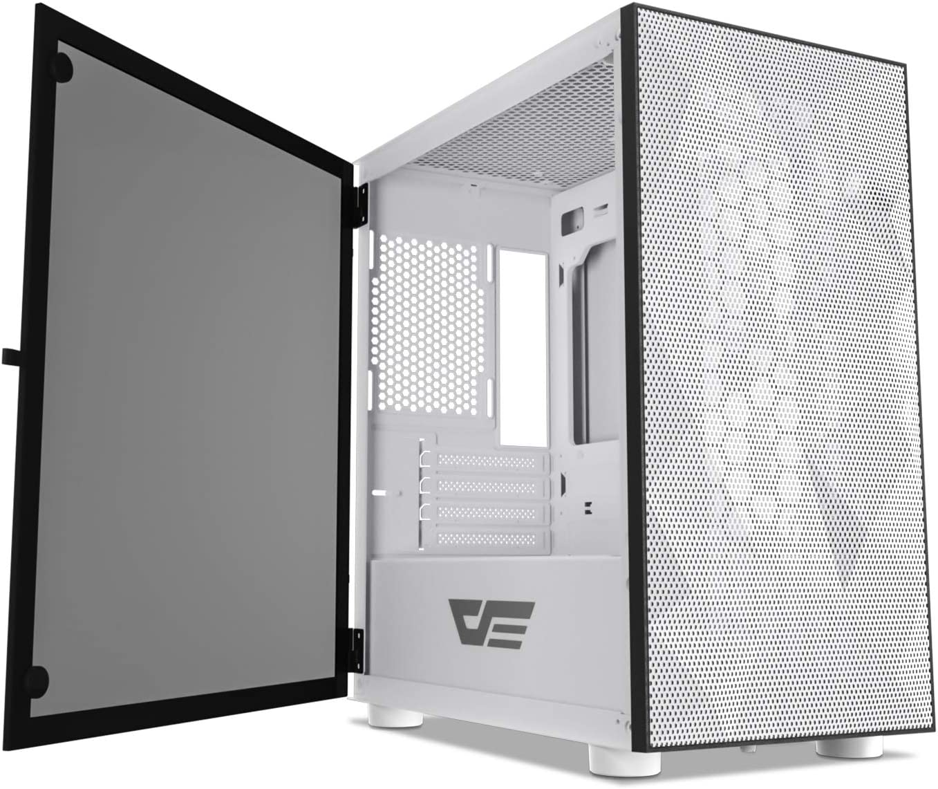 darkFlash DLM21 MESH Micro ATX Mini ITX Tower MicroATX White Computer Case with Door Opening Tempered Glass Side Panel & Mesh Front Panel