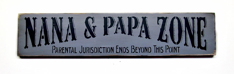 Wooden Sign Nana Papa Zone Gift For Grandparents