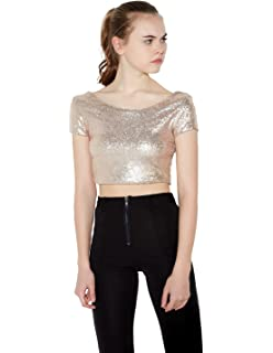 39678e46a5f20 ASMAX HaoDuoYi Women Sparkly Sequin Crop Backless Pullover Sexy Bodycon  Club T Shirt