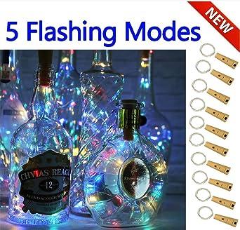 Luces inteligentes con 5 modos regulables para botella de vino con corcho, 10 Packs luces de cable mágico con Decoración, Navidad, Bodas (4 ...