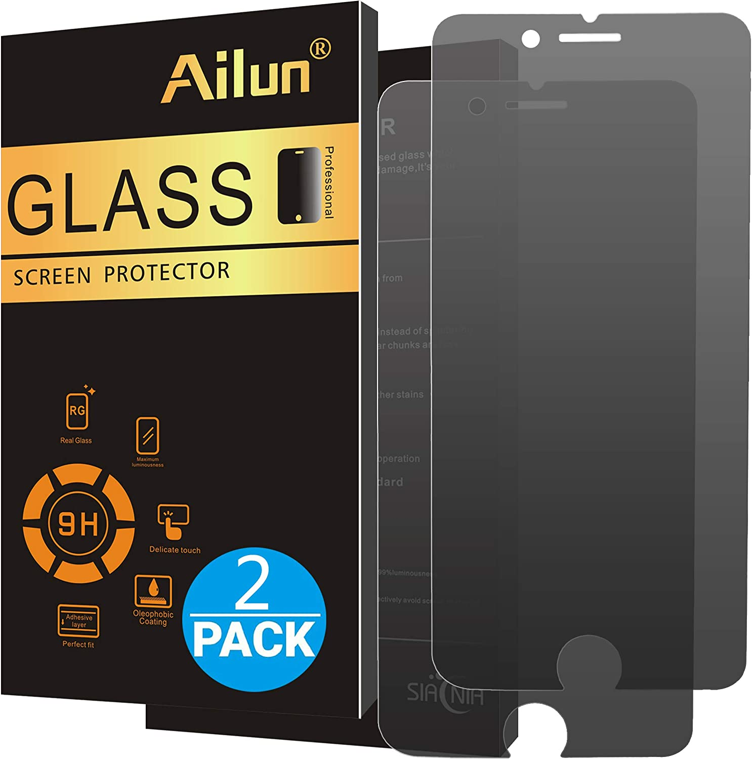 Ailun Privacy Screen Protector Compatible with iPhone 8 Plus 7 Plus 2Pack Anti Spy Anti Glare Japanese Glass 0.25MM Tempered Glass Compatible with iPhone 8 Plus 7 Plus Anti Scratch Case Friendly