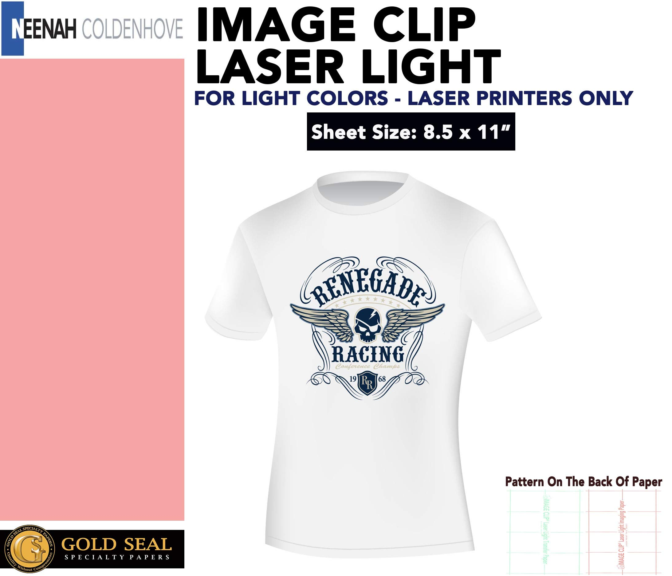 LASER TRANSFER FOR WHITE FABRIC: ''IMAGE CLIP LIGHT'' 8.5''x11'' 50Pk :) by Neenah IMAGE CLIP LASER LIGHT HEAT TRANSFER PAPER