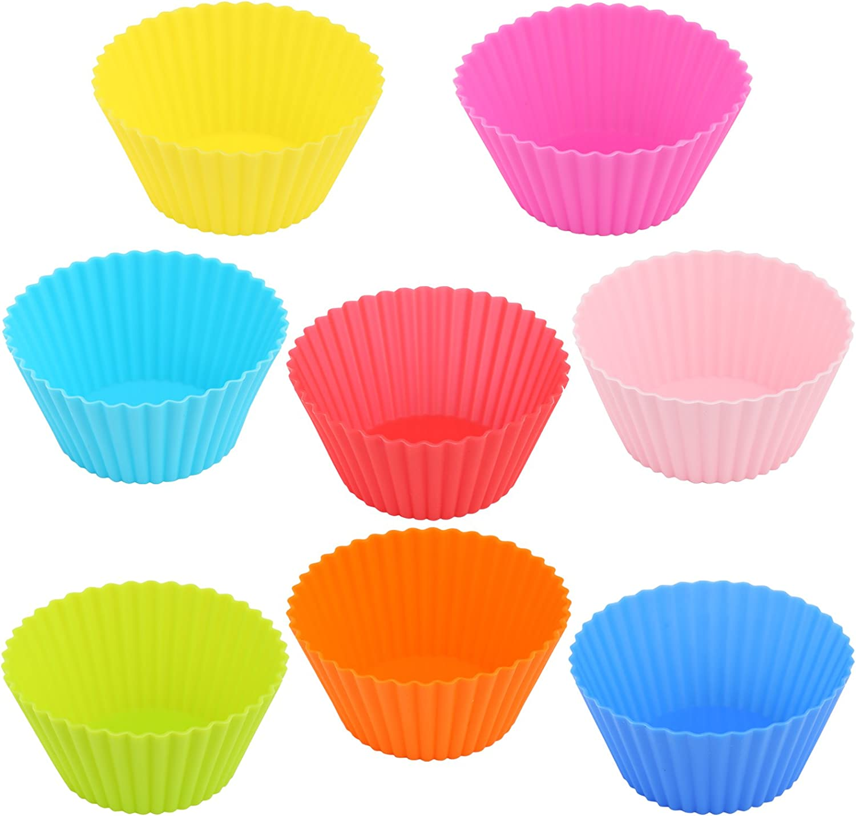 B/äcker /& Lecker 40x Muffinformen Silikon Cupcake Wiederverwendbare Muffinf/örmchen Backform 8 Farben