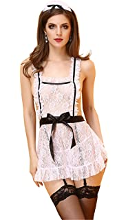 1cdf9127e Cabeen Women Sexy French Maid Outfit Cosplay Costume Lace Dress Lingerie
