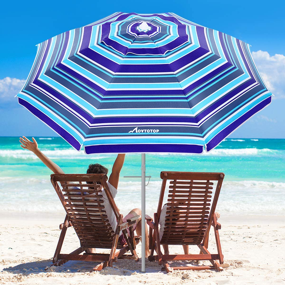 MOVTOTOP Beach Umbrella, 6.5ft Patio Umbrella with Sand Anchor Tilt Mechanism, Portable UV 50 Protection Outdoor Umbrella with Carry Bag for Garden Patio Beach Travel Royal Blue Stripe