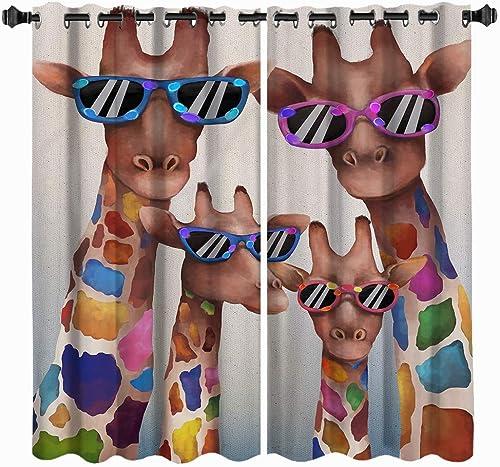 VividHome Kids Room Window Curtain Funny Giraffe Wearing Sunglasses Print Window Treatment Family Animal Curtains Draperies