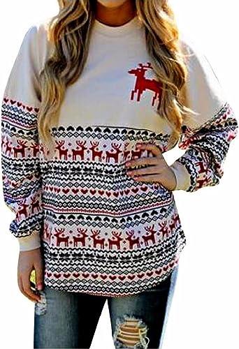 SHOBDW Mujer Moda Feliz Navidad Regalo Clubwear Traje Vintage Reno Imprimir Lindo Otoño Invierno de Manga Larga Top Cuello Redondo de Gran tamaño Blusa Sudadera: Amazon.es: Ropa y accesorios