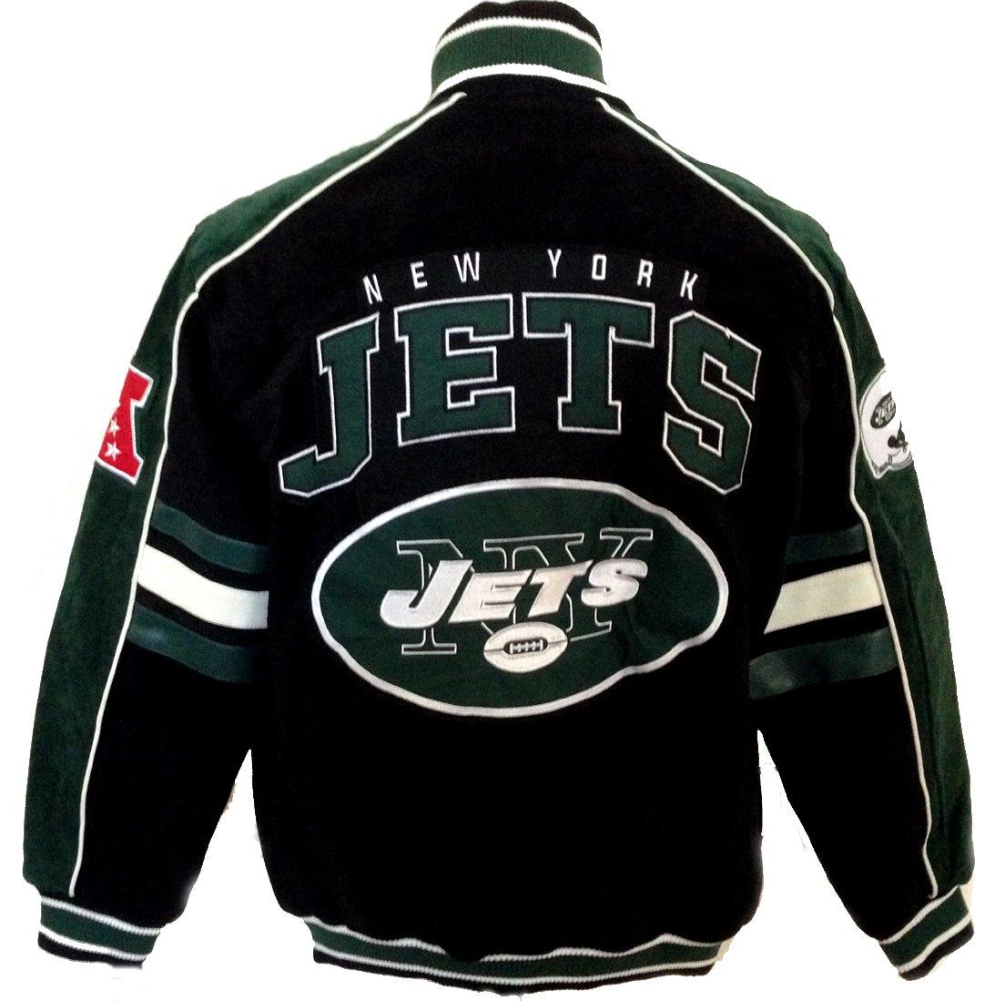 timeless design 4b53b 1cd8d Amazon.com : New York Jets Jacket Suede Leather NFL Jets ...