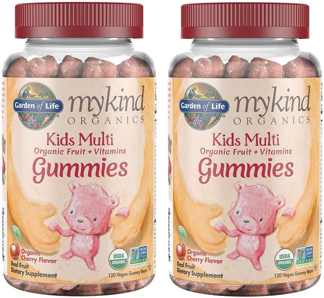 MyKind Organics Kids Multi Organic Real Fruit and Vitamins in Delicious Organic Cherry (120 Vegan Gummy Drops) Pack of 2