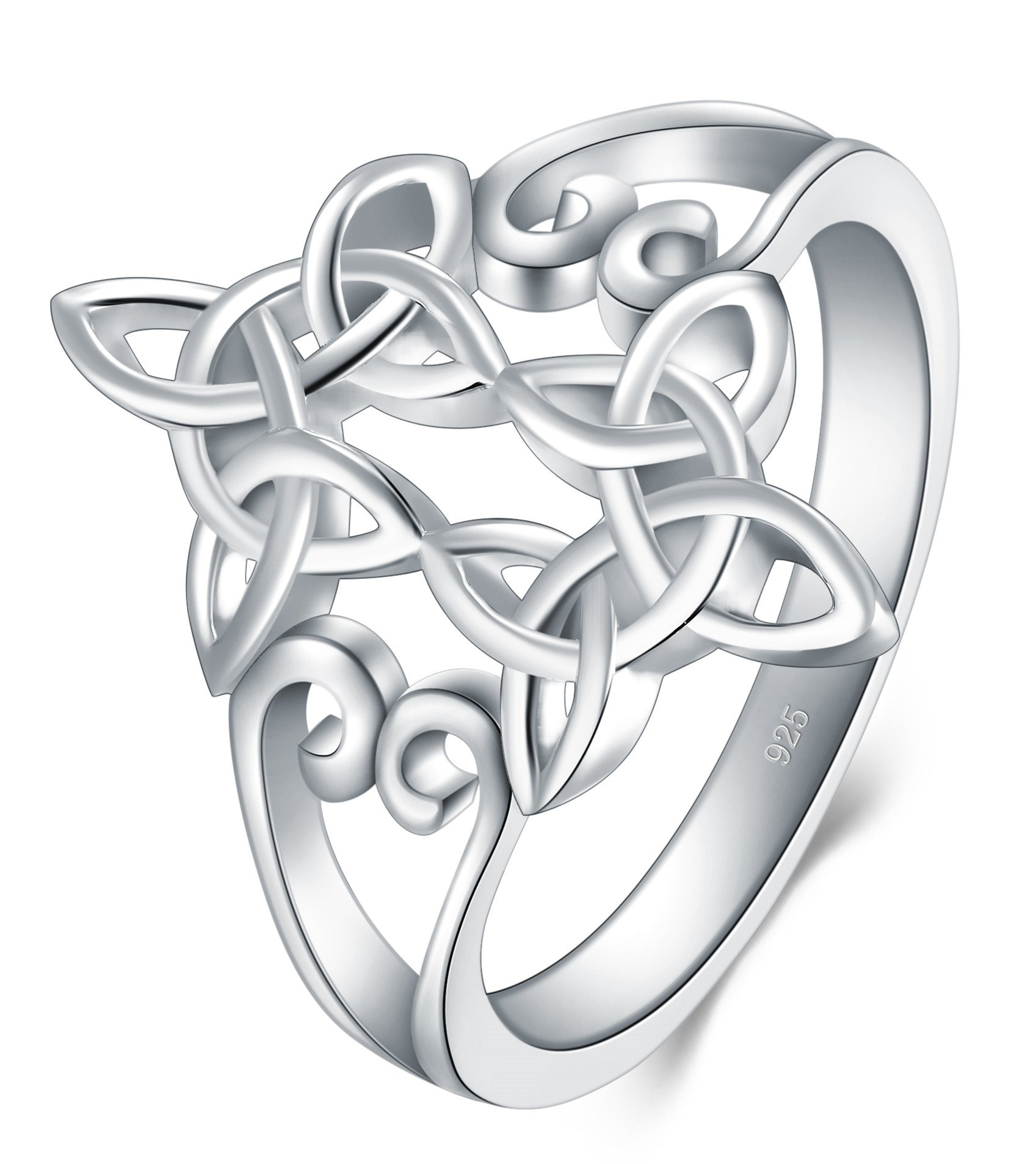 BORUO 925 Sterling Silver Ring Celtic Knot Heart Cross High Polish Tarnish Resistant Eternity Wedding Band Stackable Ring Size 9 by BORUO (Image #3)