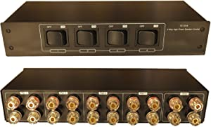 4 Zone Speaker Pair High Power Selector Switch Switcher with Gold Plated Banana Jacks, Audiophile Grade