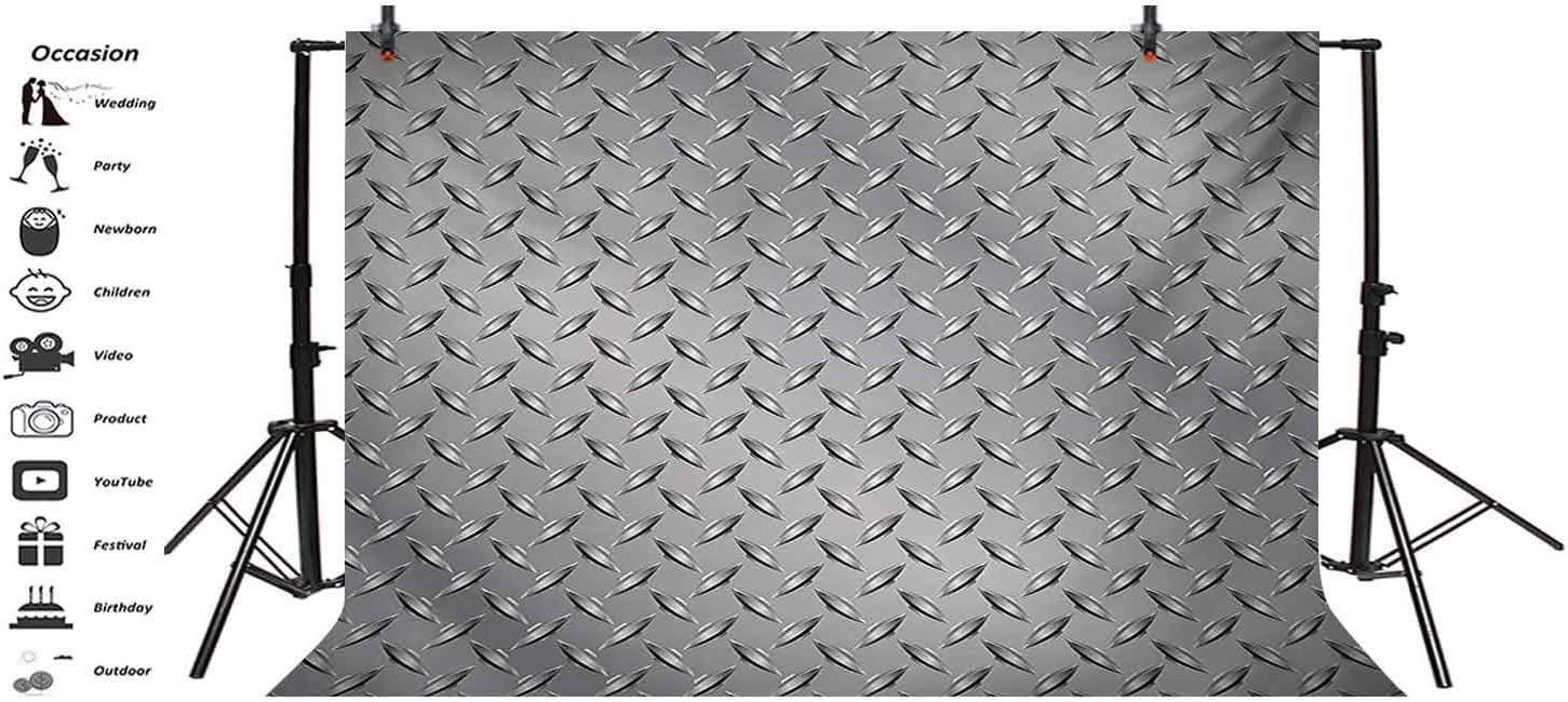 Grey 10x8 FT Vinyl Backdrop PhotographersCross Wire Fence Netting Display with Diamond Plate Effects Chrome Kitsch Motif Print Background for Party Home Decor Outdoorsy Theme Shoot Props