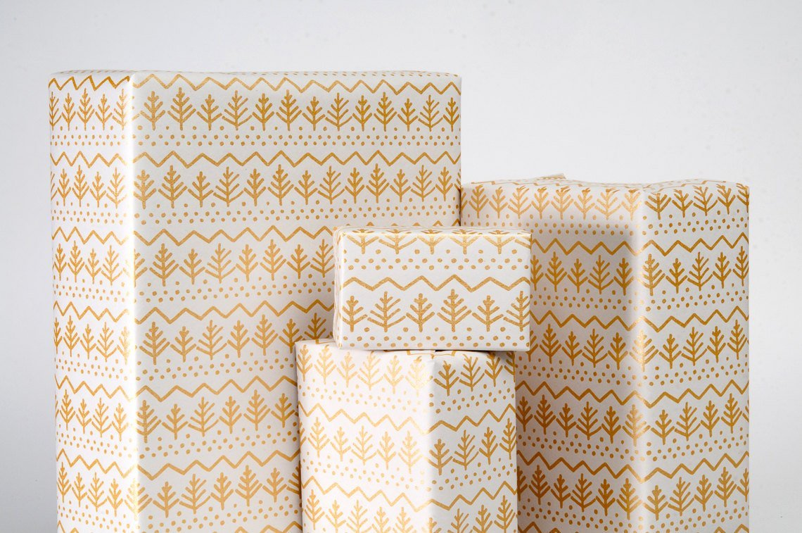Pine Tree Gift Wrap / Gold on White / Wrapping Paper / 3 Sheets