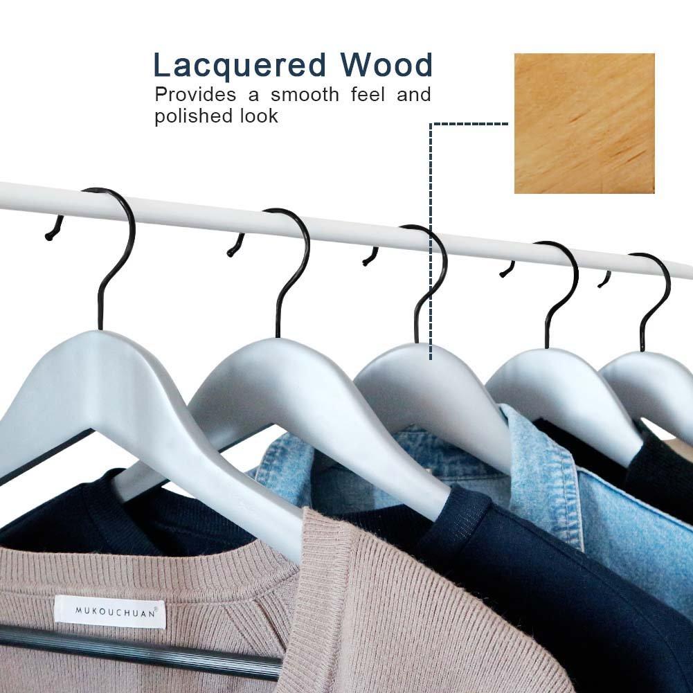 Perfecasa Grade A Solid Wood Hangers 20 Pack, Suit Hangers, Coat Hangers, Premium Quality Wooden Hangers (Gray) by Perfecasa (Image #6)