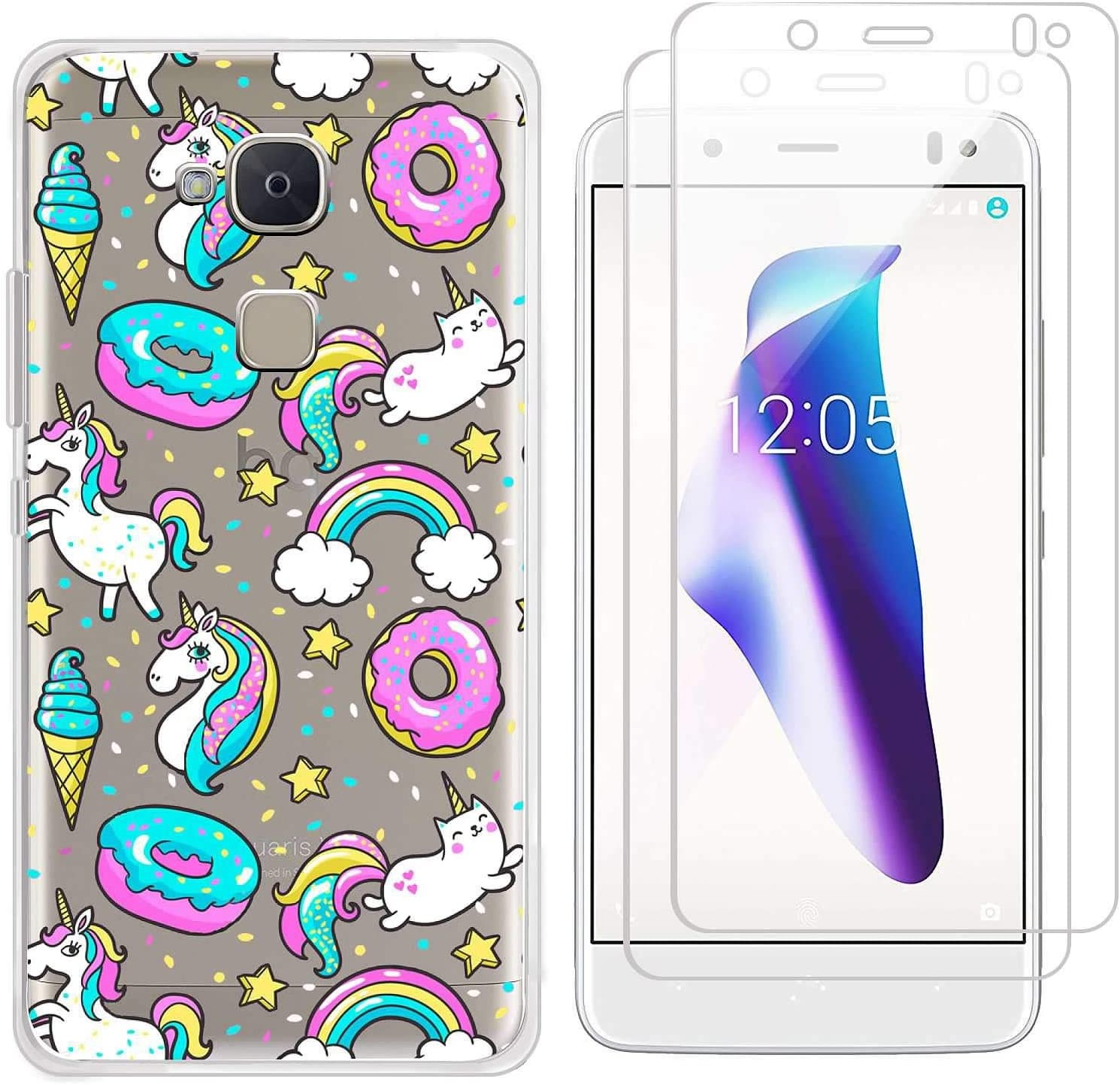 kaliter Funda BQ Aquaris V,Donut Unicorn Suave Transparente TPU Gel Silicona Protectora Smartphone Carcasa para BQ Aquaris V/VS con Dos Cristal Vidrio Templado Protector de Pantalla: Amazon.es: Electrónica
