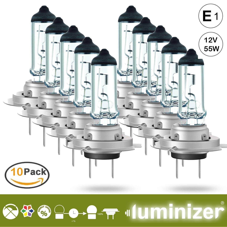 luminizer® autolampe H7 10 x H7 12 V 55 W halógena lámpara schweinwerfer Low Beam E1 PX26d): Amazon.es: Coche y moto