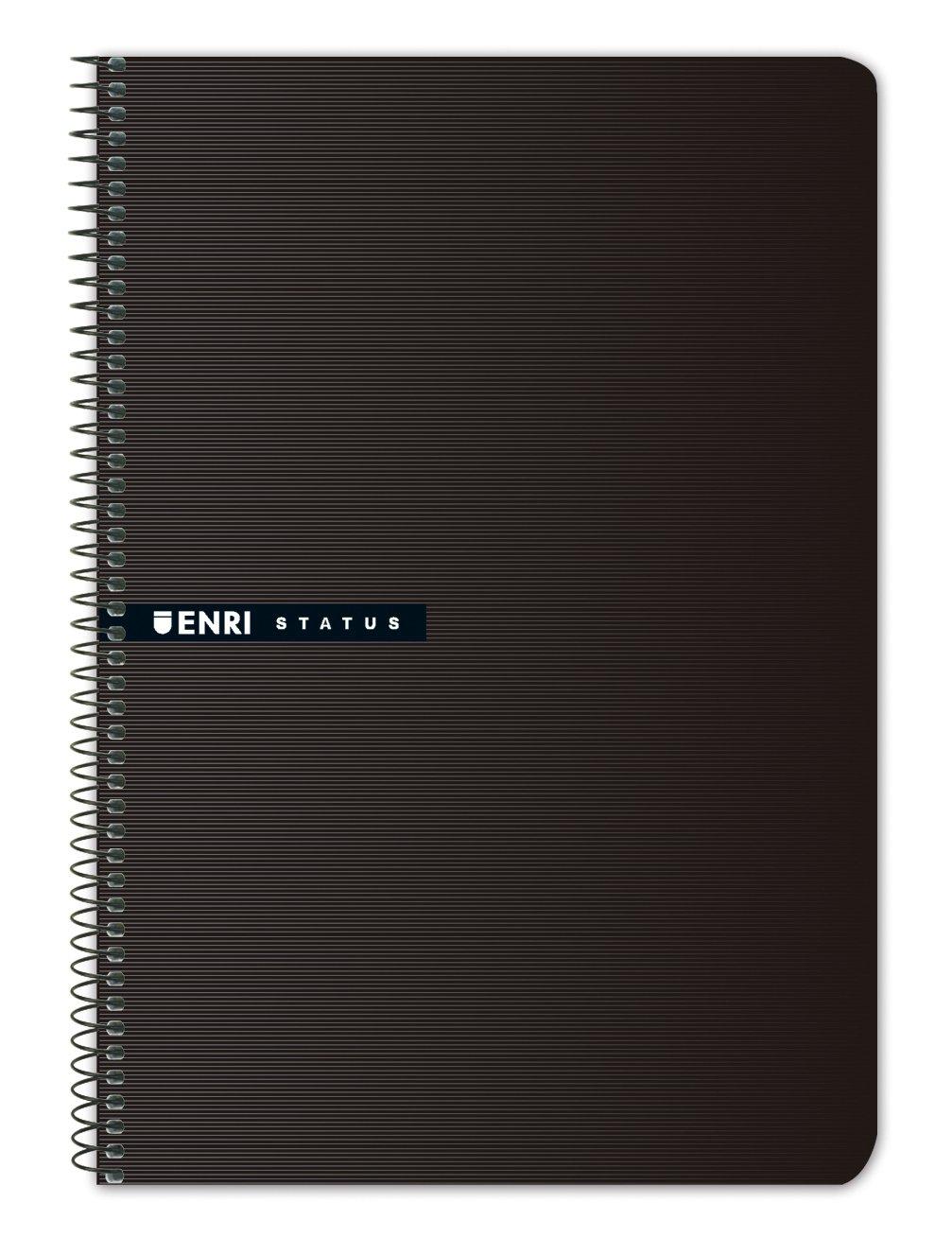 Enri 100435750–Pack of 5Notebooks Spiral Hardcover fº/215x 310mm, Black