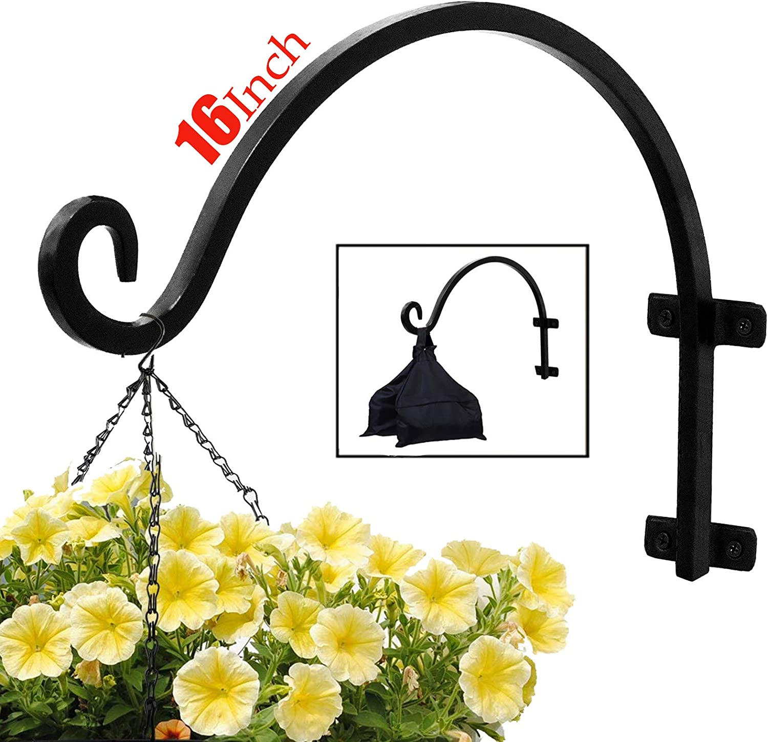 Plant Hook Hanging Basket (16inches-Screws Included) Black Durable Iron Curved Hook for Plants Lanterns Wind Chimes Heavy Duty Rust-Resistant Outdoor Hook
