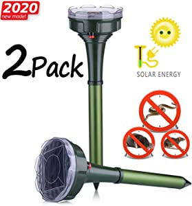 Dekugaa Solar Snake Repellent for Outdoor, Gopher Repellent Ultrasonic, Get Rid of Snake Mole Gophers for Outdoor Garden Yard 2 Pack