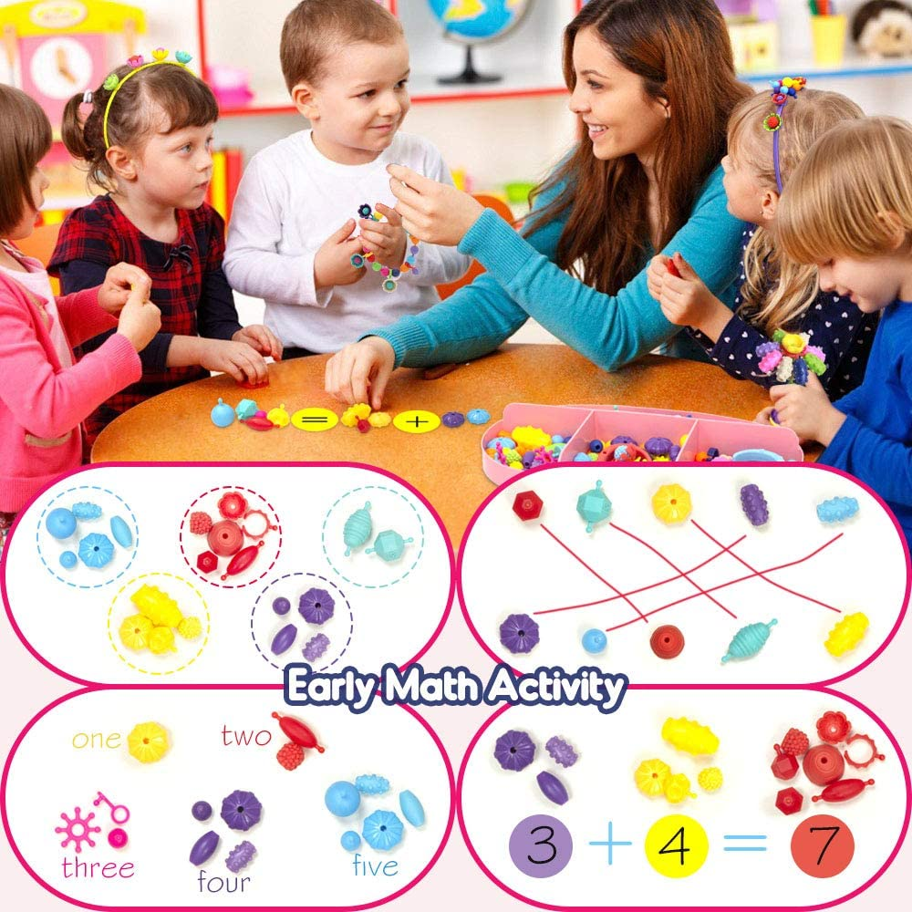 630pcs Art and Craft Toys Gift Pop Beads DIY Bracelets Necklace Hairband and Rings Creativity Set for Kids Age 3 4 5 6 7 8 Year Old Jewelry Making Kit for Girls