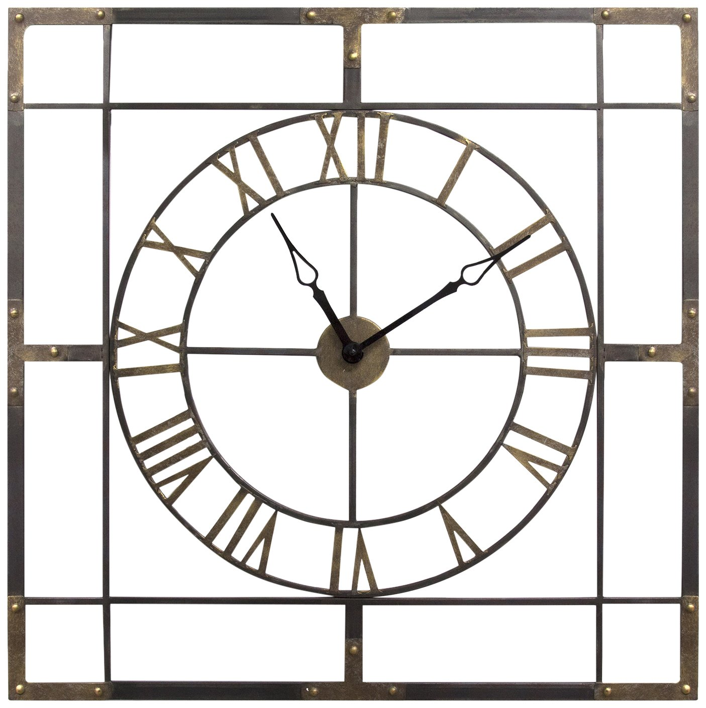 Stratton Home Décor S11549 Large Industrial Wall Clock, Antique Bronze