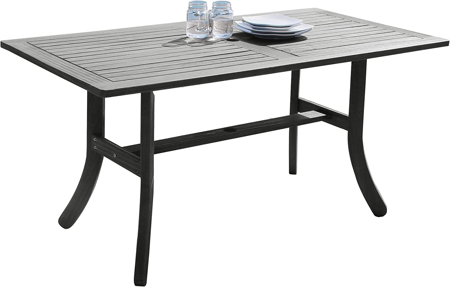 Vifah V1300 Rectangular Wooden Patio Dining Table: Furniture & Decor