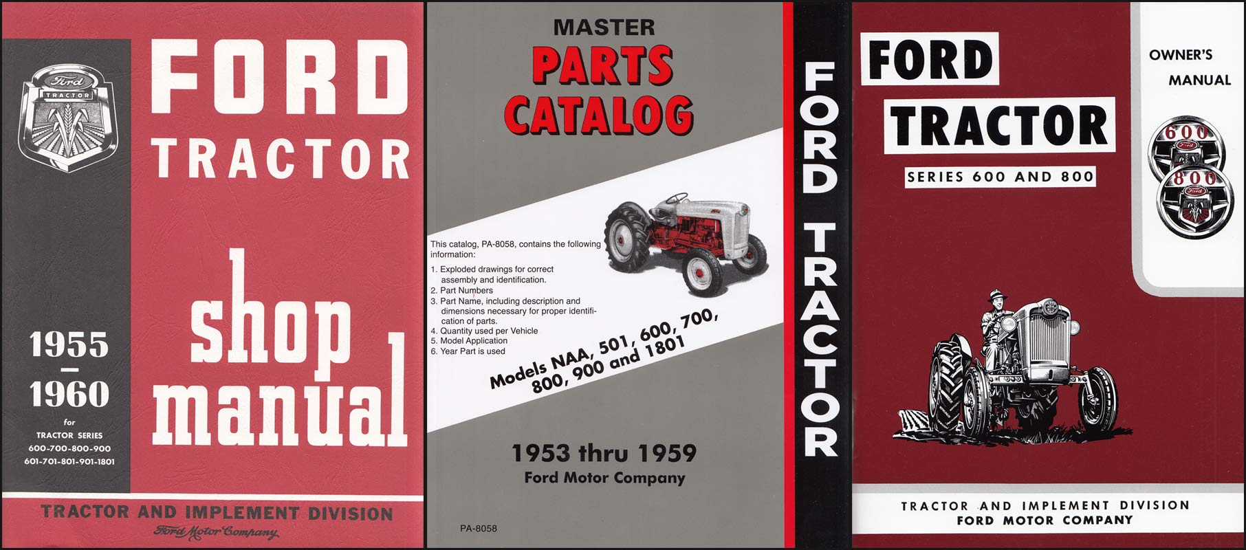 1955-1957 ford 600/800 series tractor 3 manual reprint set paperback –  abridged, 1957