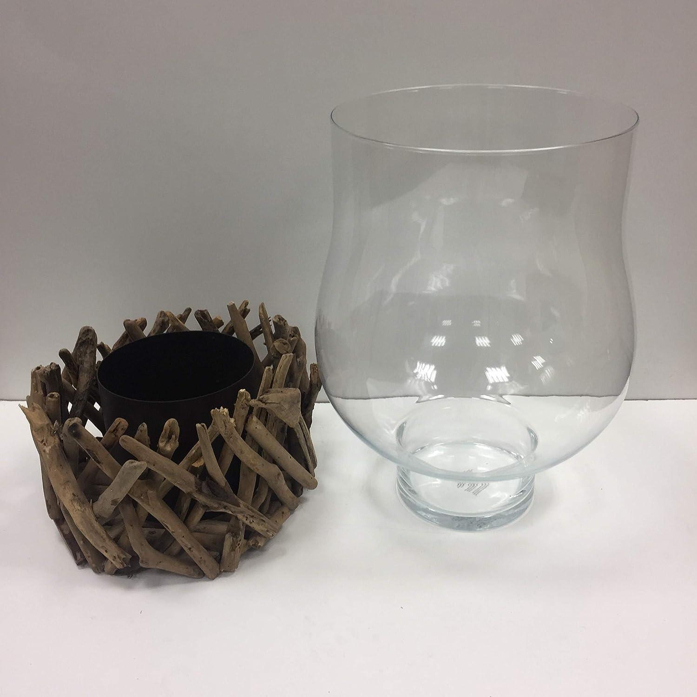 CALEIDO Teelichthalter Windlicht Kerzenhalter Beach Glas Treibholz naturfarben 1-flammig H/öhe 12 cm