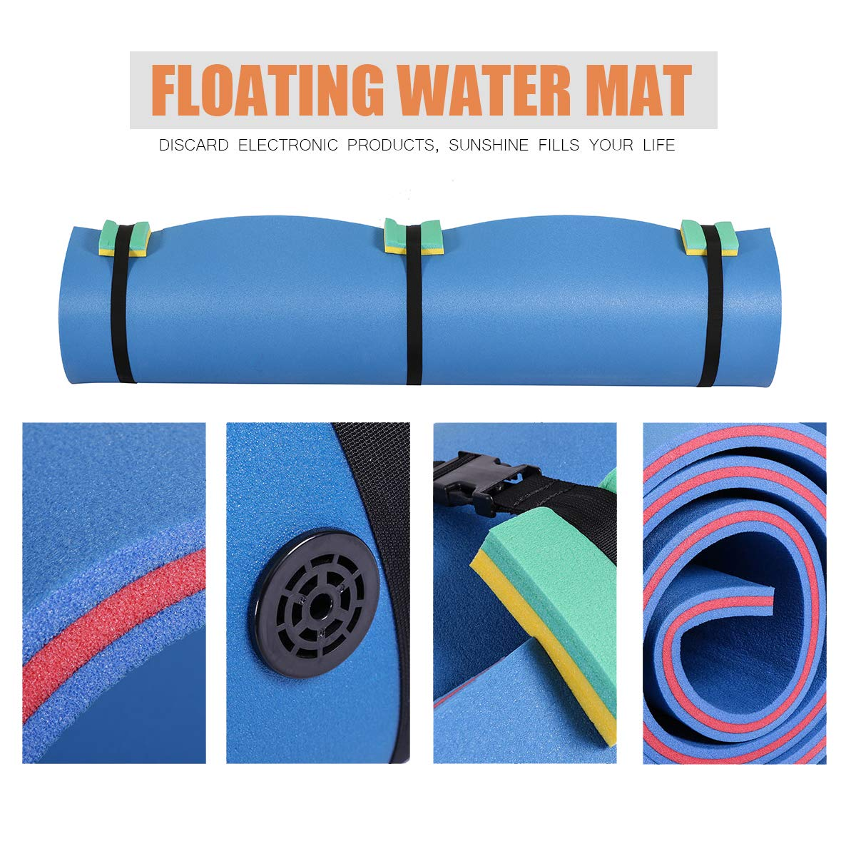Outroad Floating Mat 12' X 6' - Recreational Floating Foam Pad Adults Kids (Blue)- Lily Pad Used in Ocean/Lake by OUTROAD OUTDOOR CAMPING GARDEN PATIO (Image #5)