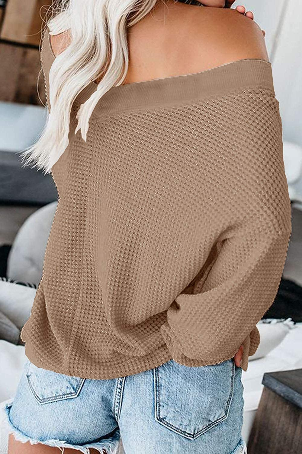 ReachMe Women's Oversized Off Shoulder Pullover Tops Long Sleeve Loose Fit Waffle Knit Tops at  Women's Clothing store