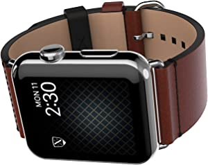 LUXEORA Element Leather Band Strap with Polished Stainless Steel Buckle - 44/42mm - Mocha Brown and Tan - Compatible with Apple Watch Series 5 4 3 2 1 Sport and Watch Edition