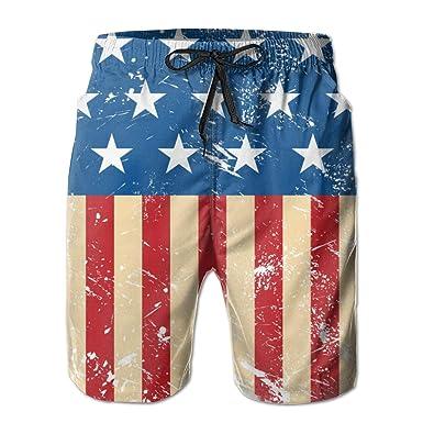 e70aad2ec1e HTSumM Retro USA Flag Mens Swim Trunks Quick Dry Board Shorts Summer  Elastic Waist Swimwear with