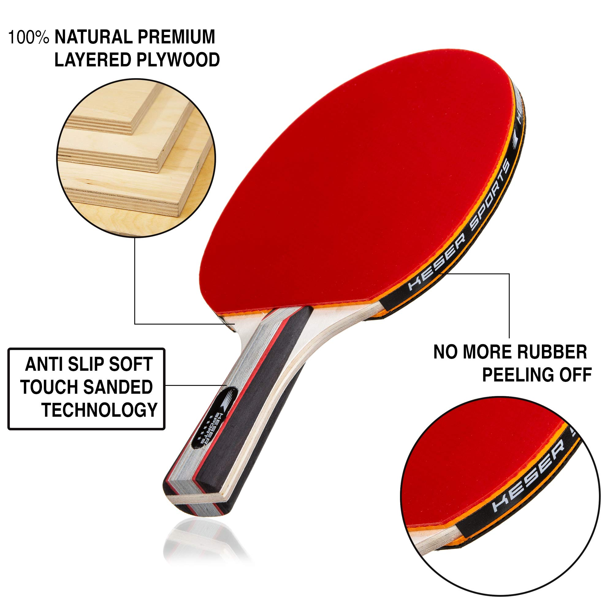 Keser Sports 5-Star Ping Pong Paddle Set, 4-Player Racket Set Bundle, 8 Professional ABS Balls, Portable Storage Bag, Full Table Tennis Set, Advanced Spin, Speed & Control, Play Outdoors/Indoors by Keser Sports (Image #3)