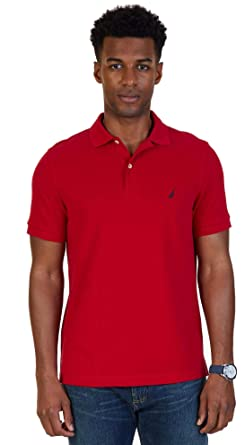 Nautica Mens Slim Fit Short Sleeve Solid Polo Shirt, BasicRed, X ...