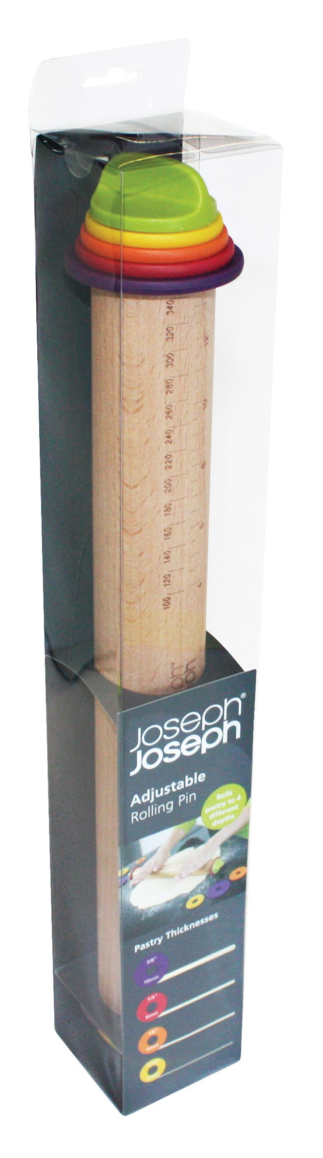 Joseph Joseph 20085 Adjustable Rolling Pin with Removable Rings, Multicolored by Joseph Joseph (Image #3)