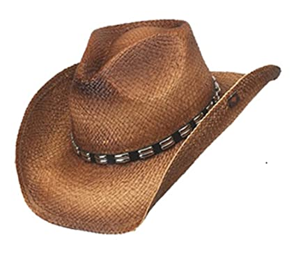 6b0c8d2b4fb50 Peter Grimm Ltd Men s Bret Studded Raffia Straw Cowboy Hat Brown One Size at  Amazon Men s Clothing store