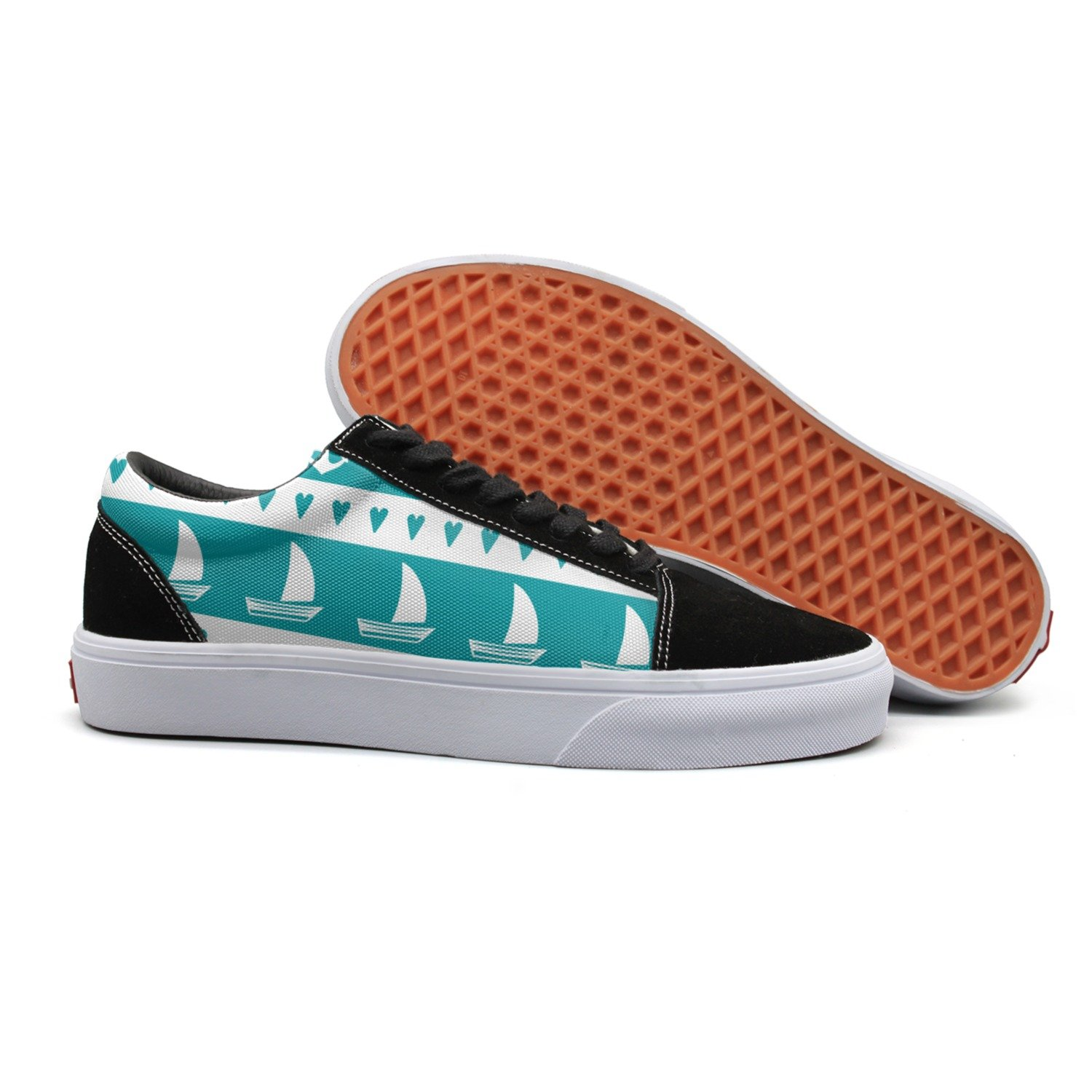 Print Trendy Anchor Sailboat Hear Low Top Canvas Sneakers