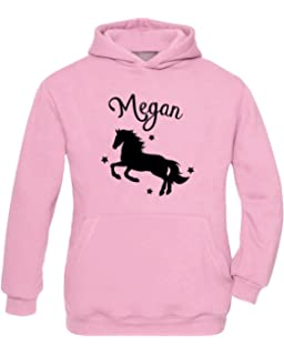 Girls Personalised Horse Riding Crystallised Equestrian Hoodie Varsany