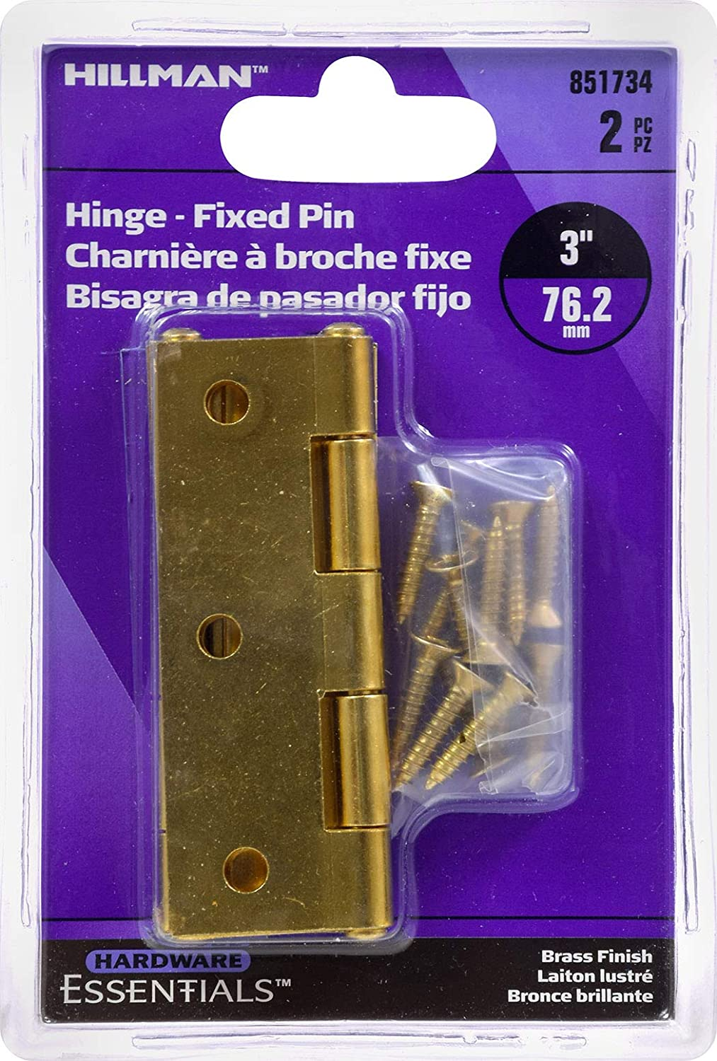 Hillman Hardware Essentials 851734 Light Narrow Door Hinges and Fixed Pin Brass 3-2 pack
