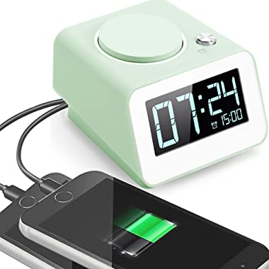 Alarm Clock for Bedroom,Electronic Alarm Clock with USB Charger,4 Dimmer,Snooze and Battery Backup Function(Green)